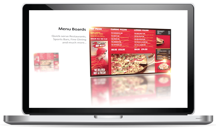 digital menu board on laptop signcast media