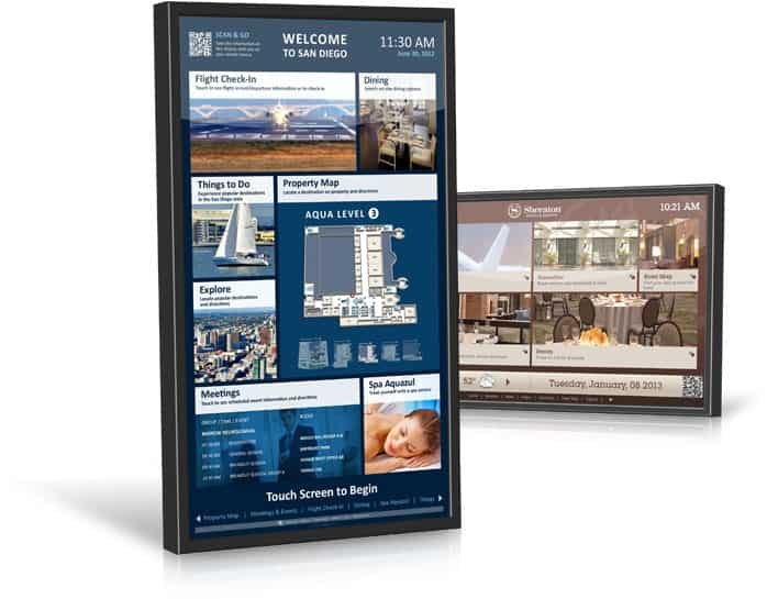 two digital signage digital directory screens with multiple sections with map, wayfinding, directory, news, bulletins, and more