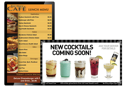 digital signage digital menu boards for various restaurants