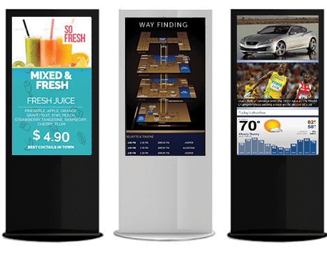 digital signage kiosks with menu content, digital directory, and news on screens showcasing custom content design