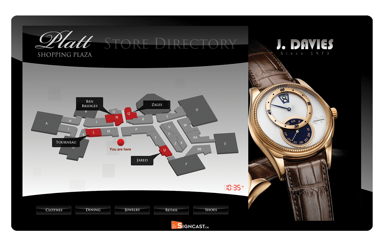 digital signage screenw with signcast logo and store digital directory wayfinding map