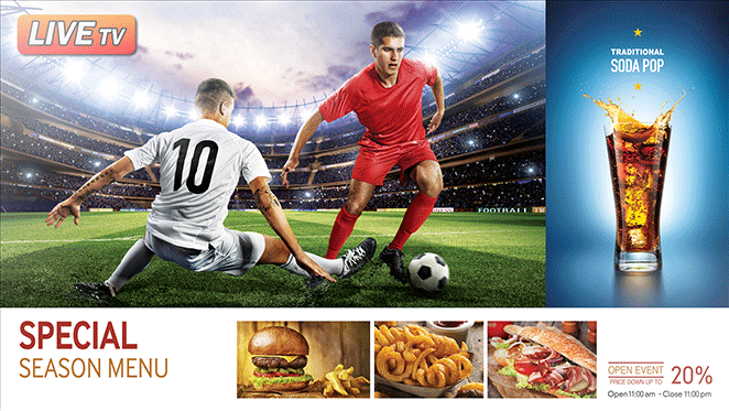 digital advertising example in screen food and drink ad tv signcast media digital information display