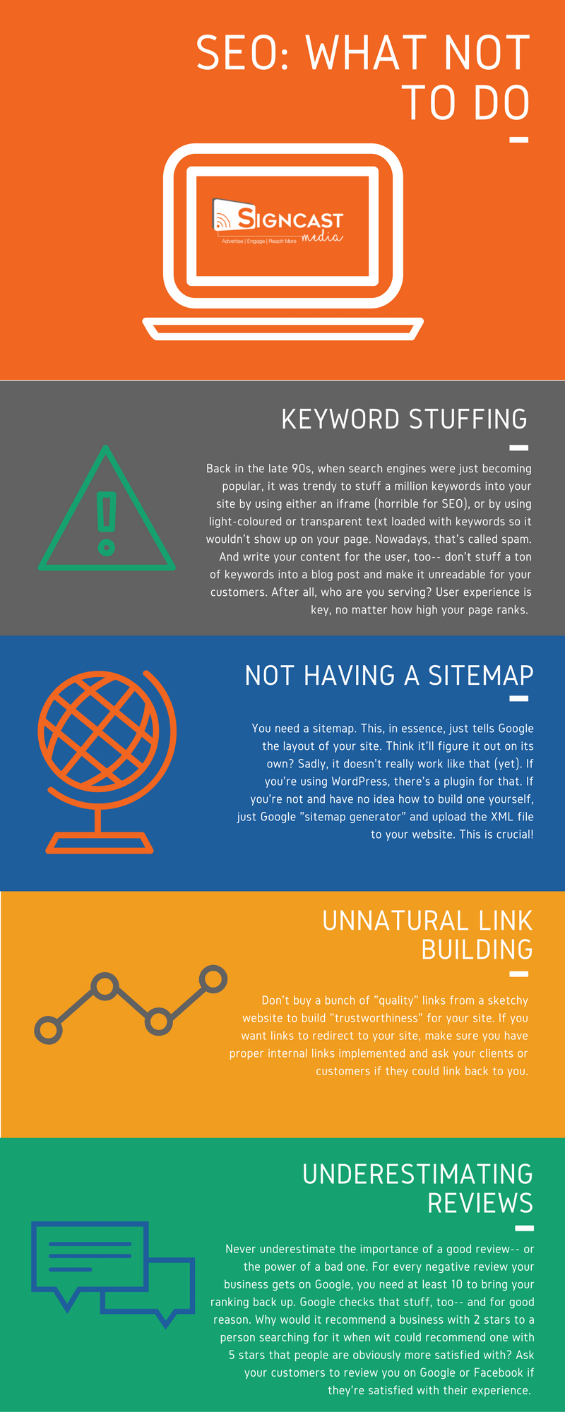 seo bad practices infographic information signcast digital signage