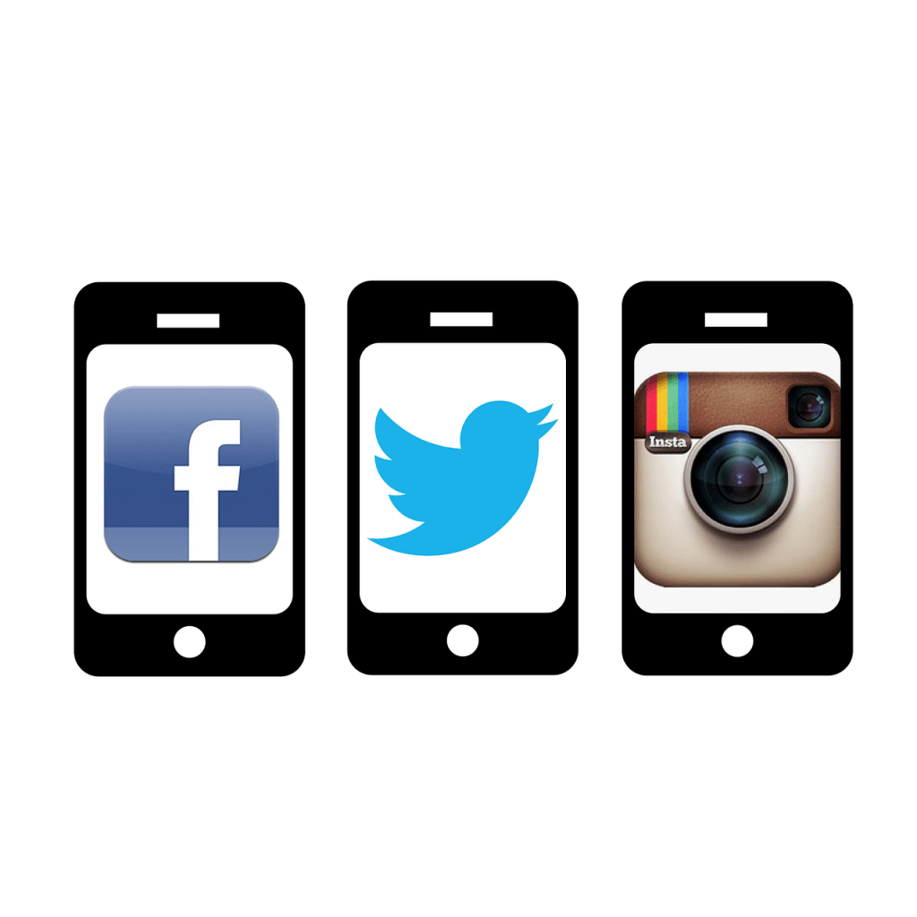 three separate phones, one with the facebook image displayed, the next with the twitter symbol, and the next with the instagram symbol
